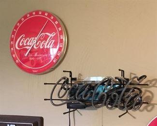 Coca Cola Neon sign. Coke Thermometer