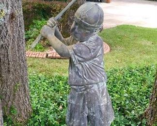Vintage Bronze Golfing Boy Sculpture.
