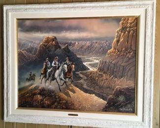 """AMAZING ONE OF A KIND COMMISSIONED 53"""" X 65 1/2"""" OIL PAINTING BY TED BLAYLOCK. A MUST SEE IN PERSON TO FULLY APPRECIATE THIS RARE OIL PAINTING."""