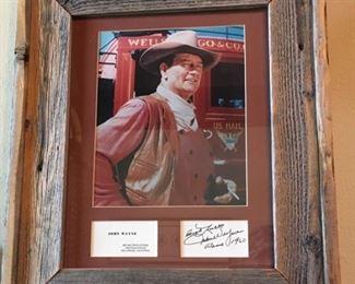 "Signed John Wayne ""Alamo"" framed picture."