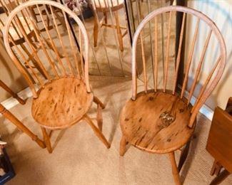 Nice Rustic high back wood chairs.