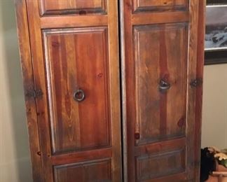 Very fine Solid wood rustic type Wardrobe with heavy duty hardware.