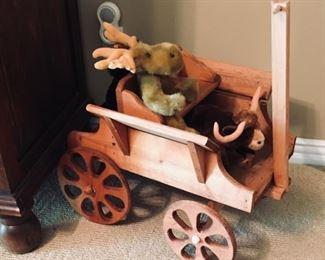 4 Wheel childs wood wagon