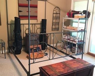 Queen Sized metal Bed with frame, no mattress or box spring available for this bed.