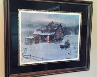 Ted Blaylock signed Country Winter Scene Art.