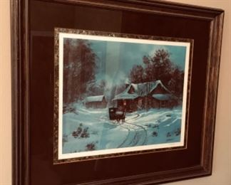 2 of 3 Signed & numbered Ted Blaylock Winter Country Home scenic Art.