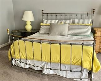 "$795 Domain King size metal frame bow front bed.  59""H x 80""W x 93""L MATTRESS NOT INCLUDED"