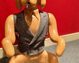 """Arnold Altshuler """"Watch Dog"""" carved wood sculpture with cloth vest, signed; 20"""" W x 24"""" D x 36"""" H"""