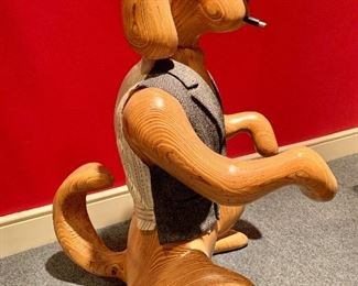 """Detail: Arnold Altshuler """"Watch Dog"""" carved wood sculpture with cloth vest, signed; 20"""" W x 24"""" D x 36"""" H"""