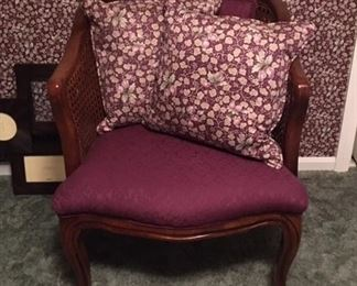 upholstered, caned back chair