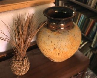 Mid Century pottery and baskets