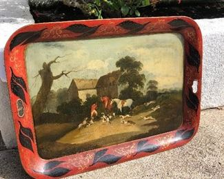 English Tole Hunt Tray Large - Fine Red!  horses Beagles, Spaniels $450