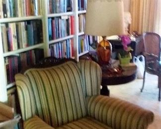 Antique Furniture , accent chairs, sofa, end tables & table lamps . Lots of books