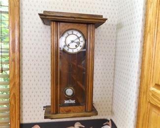 Antique Porcelain Face Wood Wall Clock