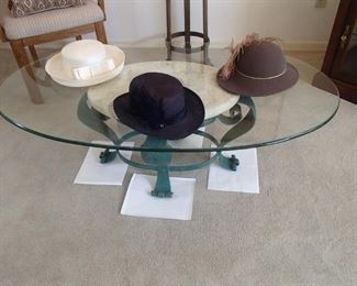 metal, marble inset, glass coffee table