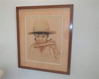 chalk/pencil medium of young mexican boy by artist Gayle 1989