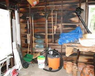 Yard Tools, Pottery vases, Shop Vac