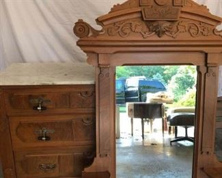 Antique Eastlake Marble Top Dresser and Mirror