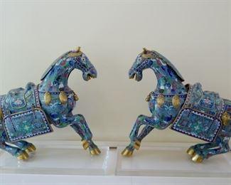 Chinese cloisonné horses $1,500 for the pair, price is firm.