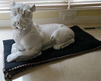 """Italian ceramic lioness $450, 3' W x 1' 6"""" D x 21"""" T"""