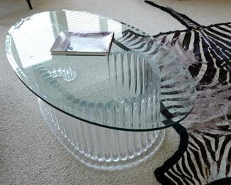 Oval Plexiglas coffee table $1,200