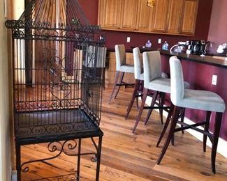 bar stools $20 each (8) and birdcage $400