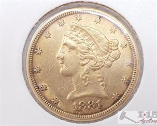 590	  US 1881 5-Dollar Gold Eagle Liberty Head US 1881 5-Dollar Gold Eagle Liberty Head
