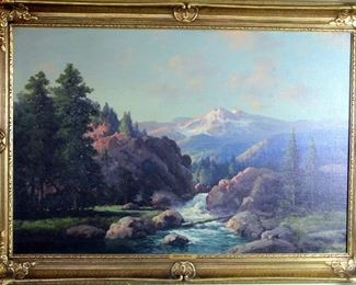 "Large 24"" X 36"" O/C by Listed, Well Known Artist Robert William Wood (1889-1979) Titled ""Cascade Range and Rapid River Oregon"","
