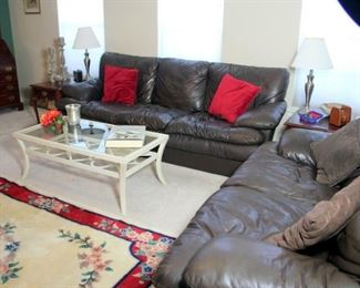 Faux Leather Sofas & Tommy Bahama Coffee Table