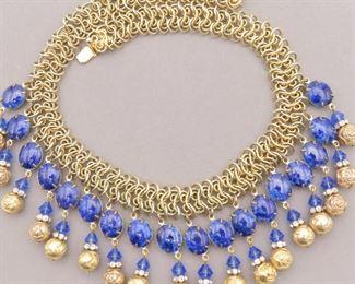 Vintage Faux Lapis Egyptian Revival bib necklace