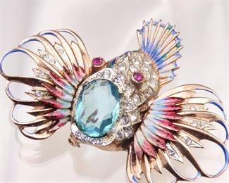 Vintage Coro Rock Fish Brooch