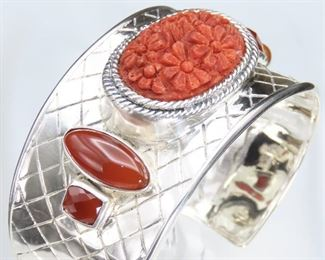 Sterling Amy Kahn Russell (AKR) Carved Coral - Lattice Sterling Cuff