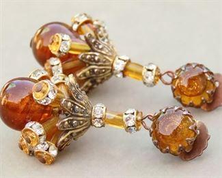 Vintage Schiaparelli Dangle Amber Art Glass Earrings