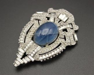 Antique Crystal Dress Clip  with Faux Star Sapphire Cabochon