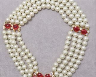 Vintage Schiaparelli 4 Strand Faux Pearl Necklace with Ornate Ruby Clasp and Spacers