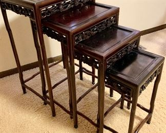 4 pc rosewood stack tables $175 smallest 10 x 7.5 x 17.5h Largest 16.5 x 13 x 27h