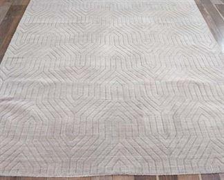 8X10' Beige Wool Pattern Area Rug