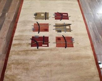 5X8' Hand Made New Zealand Wool Abstract Area Rug