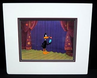 "Daffy Duck Animation Cel, Hand-Painted, Triple Matted, Cel Is Approx 10.5"" x 13"""