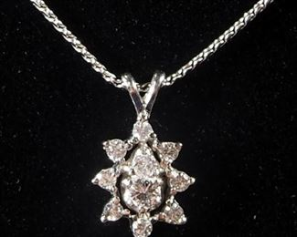 "14k White Gold Necklace, 18"" Long, With Unmarked Floral Pendant, 6.2 g Total Weight Including Pendant"