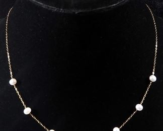 "14k Gold Necklace, 17"" Long, With Pearl Like Gems And Pair Of Opalescent Earrings, Backing Marked 14k, 3 g Combined Total Weight"