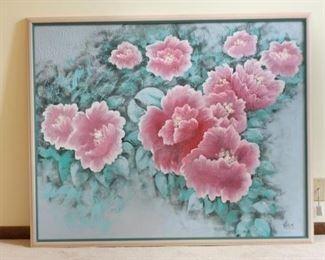 Large Signed 1980s Framed Floral Painting