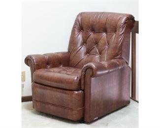 Vintage Brown Vinyl Recliner Chair
