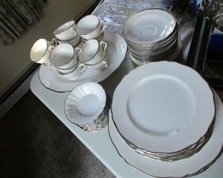 This is Spode- platinum edge- service for 12. Very Elegant and Understated.