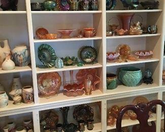 Carnival glass, McCoy pottery, Nemadji Pottery