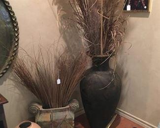 Vases, brass eagle
