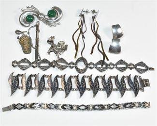 Sterling Grouping, Marcasite Bracelet, Earrings