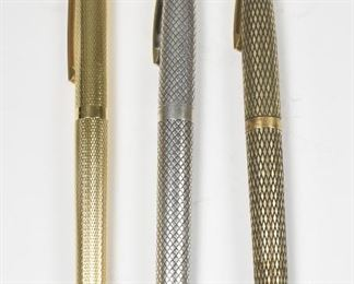 3 Shaeffer Fountain Pens, Sterling Gold Plate