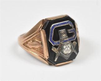 10K Masonic Men's Ring Diamond