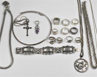 Sterling Necklaces, Rings, Bracelet